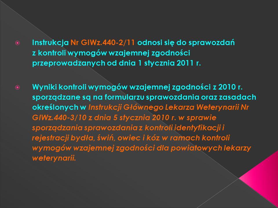 Instrukcja Nr GIWz.440-2/11 odnosi się do sprawozdań z kontroli wymogów wzajemnej zgodności przeprowadzanych od dnia 1 stycznia 2011 r. Wyniki kontrol
