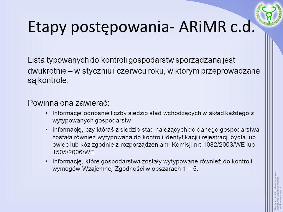 Etapy postępowania- ARiMR c.d. Lista typowanych do kontroli gospodarstw sporządzana jest dwukrotnie – w styczniu i czerwcu roku, w którym przeprowadza