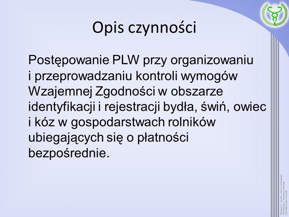 Opis czynności Postępowanie PLW przy organizowaniu i przeprowadzaniu kontroli wymogów Wzajemnej Zgodności w obszarze identyfikacji i rejestracji bydła