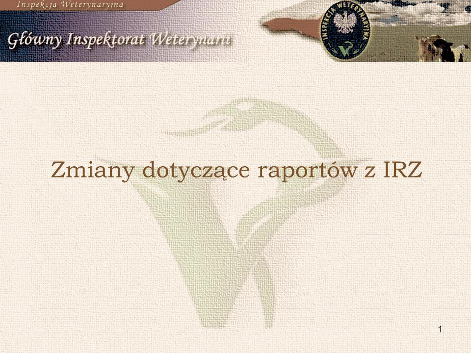 1 Zmiany dotyczące raportów z IRZ