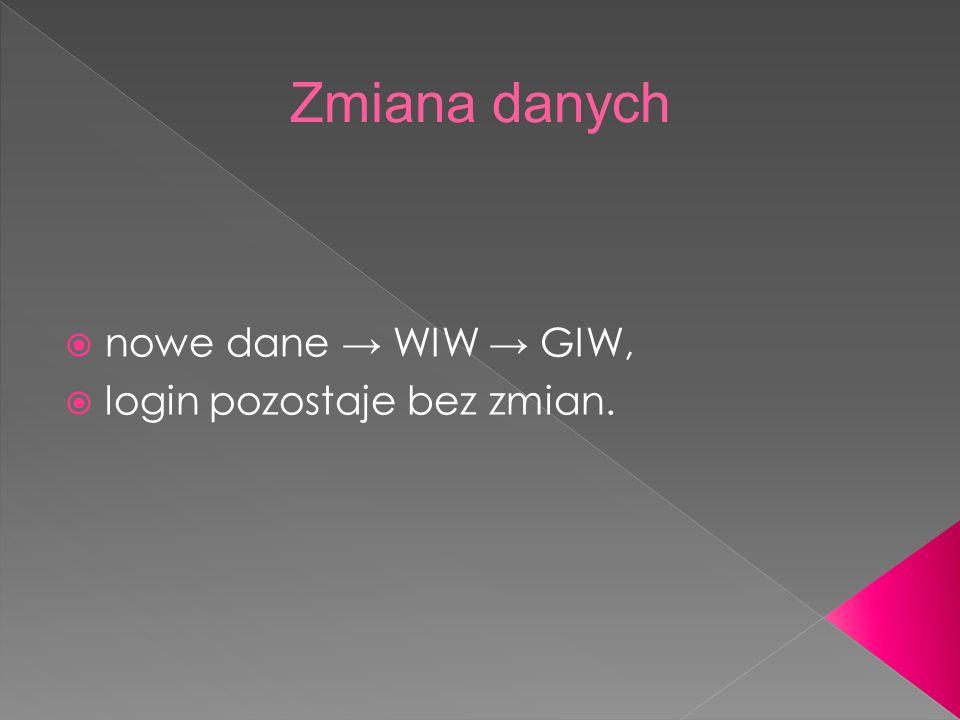 nowe dane WIW GIW, login pozostaje bez zmian.