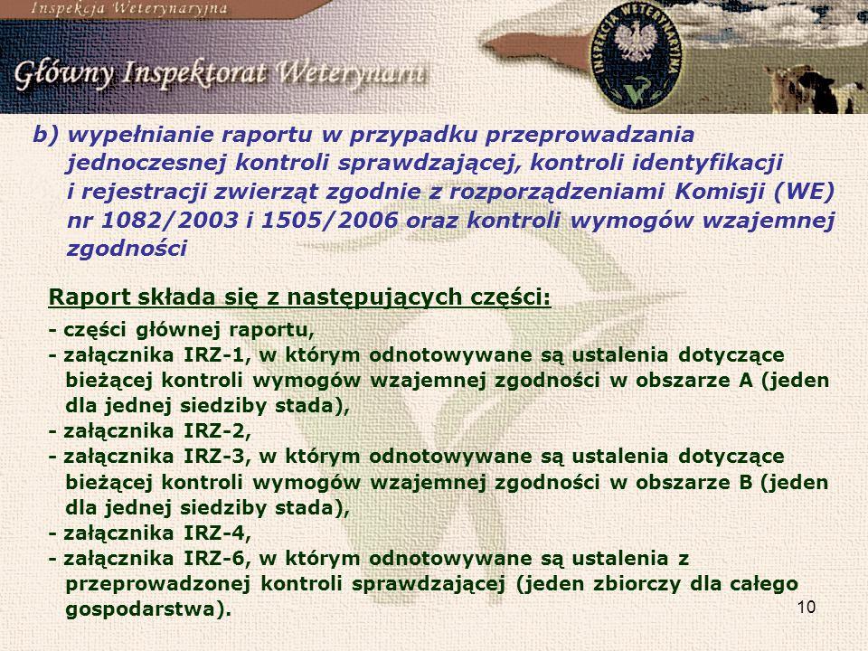 10 b)wypełnianie raportu w przypadku przeprowadzania jednoczesnej kontroli sprawdzającej, kontroli identyfikacji i rejestracji zwierząt zgodnie z rozp
