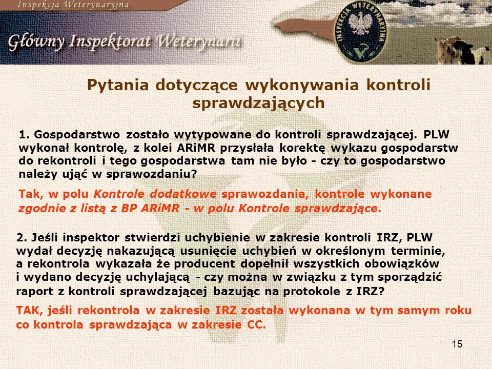 15 Pytania dotyczące wykonywania kontroli sprawdzających 1. Gospodarstwo zostało wytypowane do kontroli sprawdzającej. PLW wykonał kontrolę, z kolei A