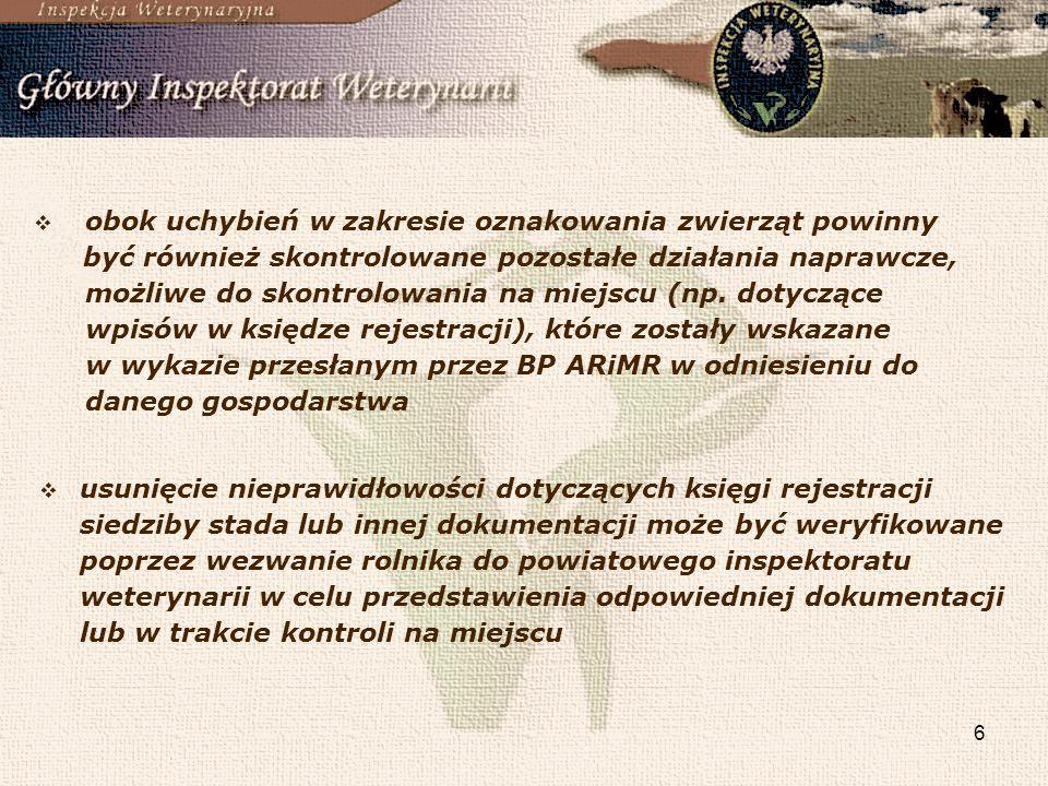 7 w zakresie weryfikacji działań naprawczych dotyczących zgłaszania przemieszczeń, urodzeń i padnięć bydła, od 1 stycznia 2011 PLW nie jest organem właściwym do przeprowadzania kontroli sprawdzającej w przypadku kontroli sprawdzającej negatywnej (KSN) należy przeprowadzić pełną kontrolę wymogów wzajemnej zgodności.