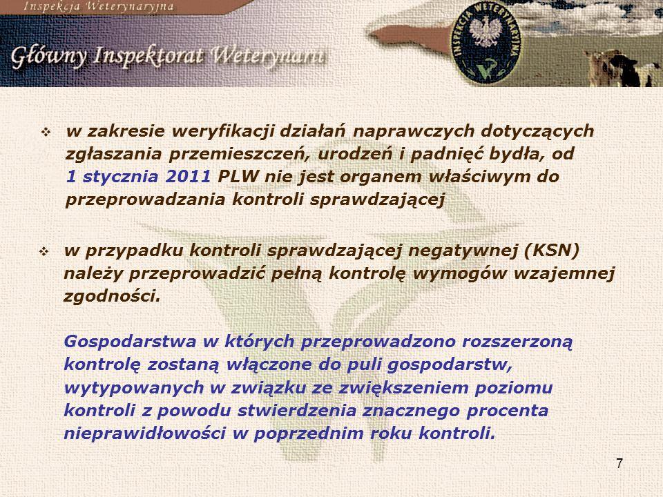 7 w zakresie weryfikacji działań naprawczych dotyczących zgłaszania przemieszczeń, urodzeń i padnięć bydła, od 1 stycznia 2011 PLW nie jest organem wł