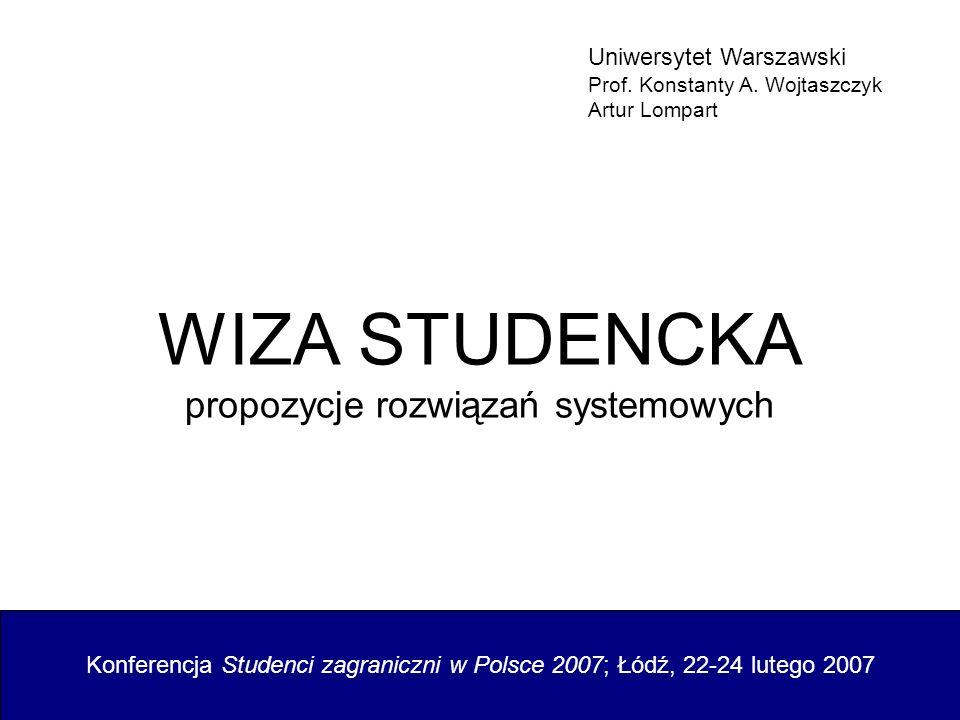 WIZA STUDENCKA propozycje rozwiązań systemowych Konferencja Studenci zagraniczni w Polsce 2007; Łódź, 22-24 lutego 2007 Uniwersytet Warszawski Prof. K