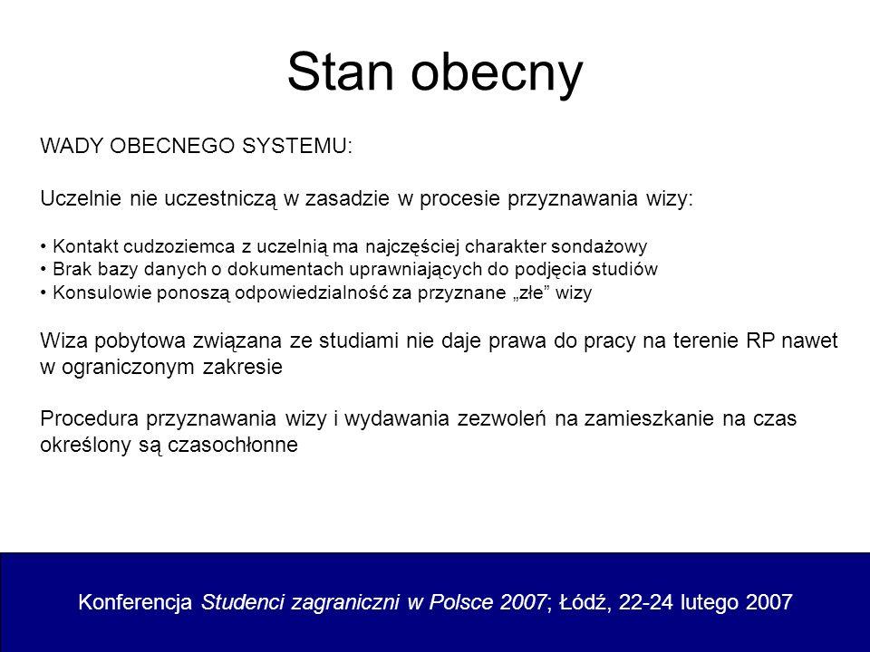Propozycje zmian Konferencja Studenci zagraniczni w Polsce 2007; Łódź, 22-24 lutego 2007 ZAŁOŻENIA ZMIANY SYSTEMU: Uczelnie powinny zostać włączone w proces przyznawania wizy: Uczelnie prowadzą rekrutację, Uczelnie opracowały zasady rekrutacji i powiadomić o nich placówki konsularne, Konsulowie przyznają wizy na wniosek cudzoziemca potwierdzony zaświadczeniem z uczelni, skierowanym także do konsula.