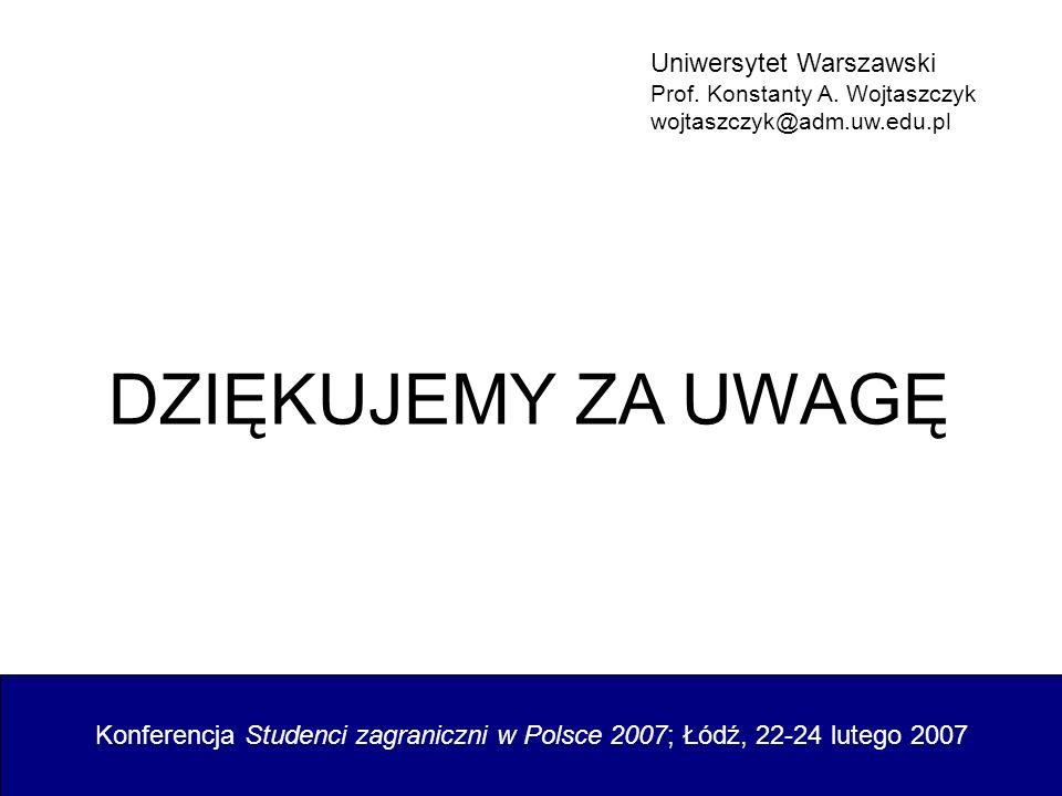 Konferencja Studenci zagraniczni w Polsce 2007; Łódź, 22-24 lutego 2007 Uniwersytet Warszawski Prof. Konstanty A. Wojtaszczyk wojtaszczyk@adm.uw.edu.p