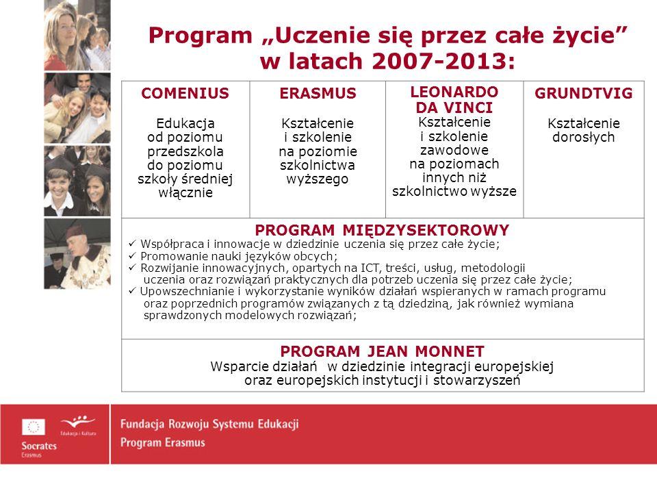 Erasmus w latach 2007-2013 Poprawa jakości i zwiększenie: tak aby do roku 2012 w wymianie Erasmusa udział wzięło co najmniej 3 milionów studentów liczby studentów i nauczycieli akademickich uczestniczących w mobilności na terenie Europy, zakresu współpracy wielostronnej pomiędzy instytucjami szkolnictwa wyższego w Europie, zakresu współpracy między instytucjami szkolnictwa wyższego a przedsiębiorstwami
