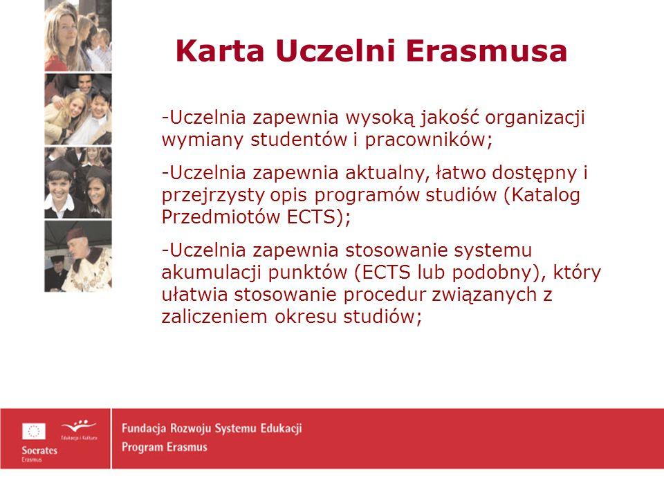 Karta Uczelni Erasmusa -Uczelnia zapewnia wysoką jakość organizacji wymiany studentów i pracowników; -Uczelnia zapewnia aktualny, łatwo dostępny i przejrzysty opis programów studiów (Katalog Przedmiotów ECTS); -Uczelnia zapewnia stosowanie systemu akumulacji punktów (ECTS lub podobny), który ułatwia stosowanie procedur związanych z zaliczeniem okresu studiów;