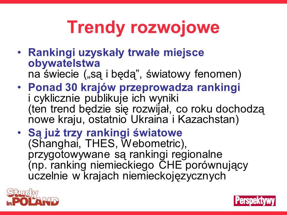 Trendy rozwojowe Rankingi uzyskały trwałe miejsce obywatelstwa na świecie (są i będą, światowy fenomen) Ponad 30 krajów przeprowadza rankingi i cyklicznie publikuje ich wyniki (ten trend będzie się rozwijał, co roku dochodzą nowe kraju, ostatnio Ukraina i Kazachstan) Są już trzy rankingi światowe (Shanghai, THES, Webometric), przygotowywane są rankingi regionalne (np.