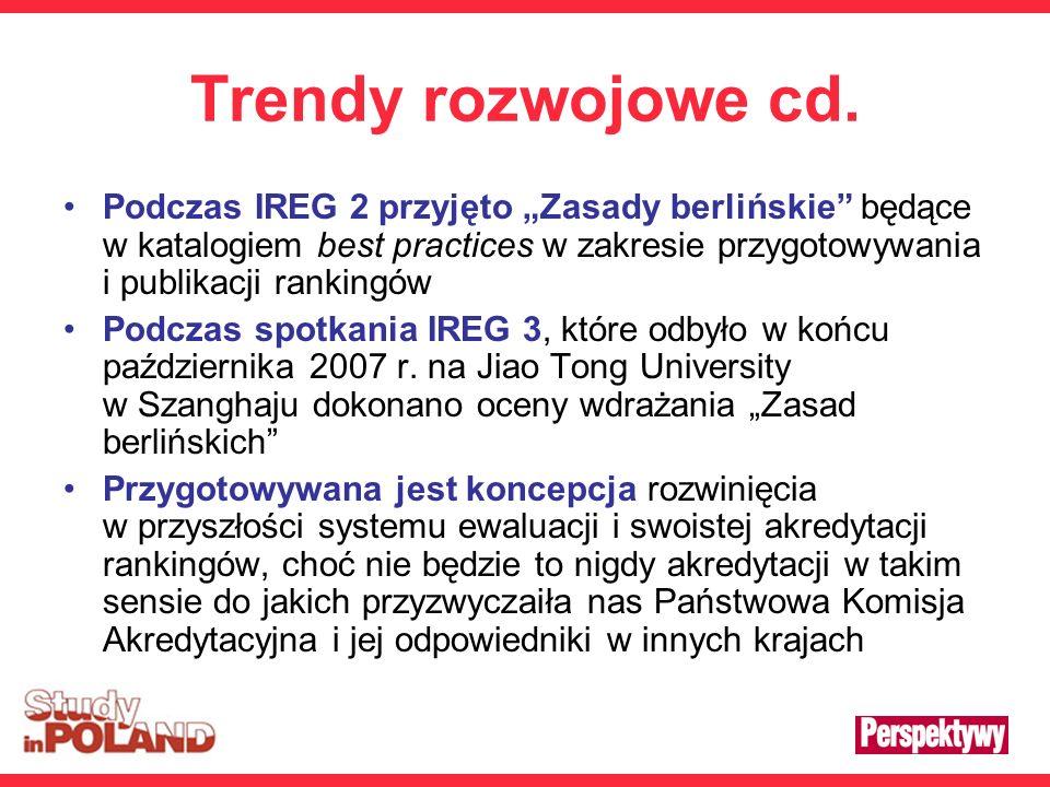 Trendy rozwojowe cd. Podczas IREG 2 przyjęto Zasady berlińskie będące w katalogiem best practices w zakresie przygotowywania i publikacji rankingów Po