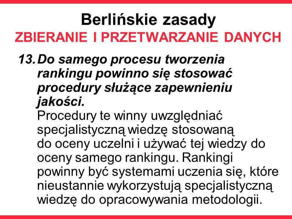 Berlińskie zasady ZBIERANIE I PRZETWARZANIE DANYCH 13.Do samego procesu tworzenia rankingu powinno się stosować procedury służące zapewnieniu jakości.