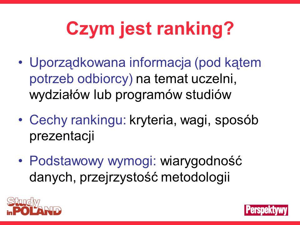 Czym jest ranking? Uporządkowana informacja (pod kątem potrzeb odbiorcy) na temat uczelni, wydziałów lub programów studiów Cechy rankingu: kryteria, w