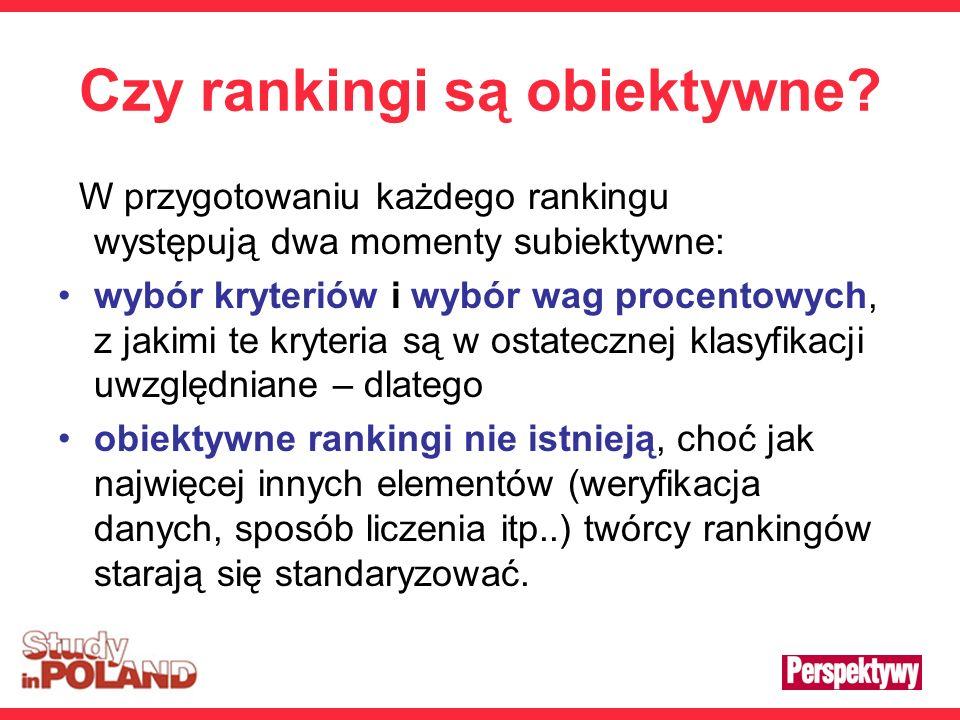 Czy rankingi są obiektywne? W przygotowaniu każdego rankingu występują dwa momenty subiektywne: wybór kryteriów i wybór wag procentowych, z jakimi te