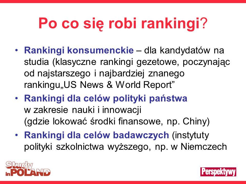 Po co się robi rankingi? Rankingi konsumenckie – dla kandydatów na studia (klasyczne rankingi gezetowe, poczynając od najstarszego i najbardziej znane