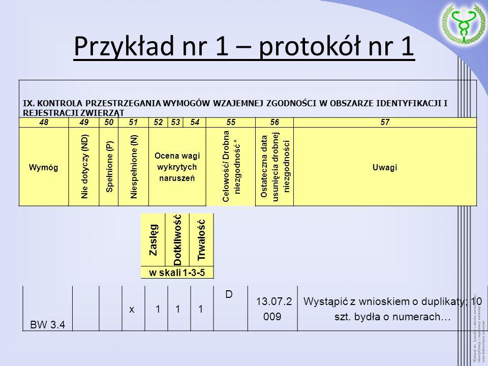 Przykład nr 1 – protokół nr 1 BW 3.4 x 11 1 D 13.07.2 009 Wystąpić z wnioskiem o duplikaty; 10 szt. bydła o numerach… IX. KONTROLA PRZESTRZEGANIA WYMO