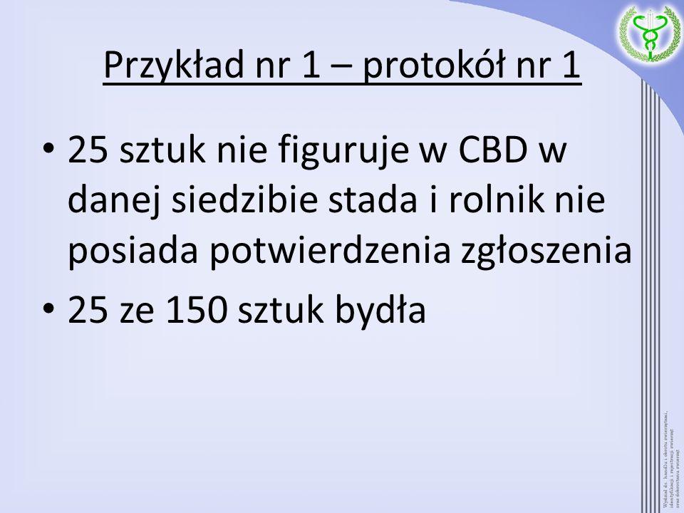 Przykład nr 1 – protokół nr 1 25 sztuk nie figuruje w CBD w danej siedzibie stada i rolnik nie posiada potwierdzenia zgłoszenia 25 ze 150 sztuk bydła