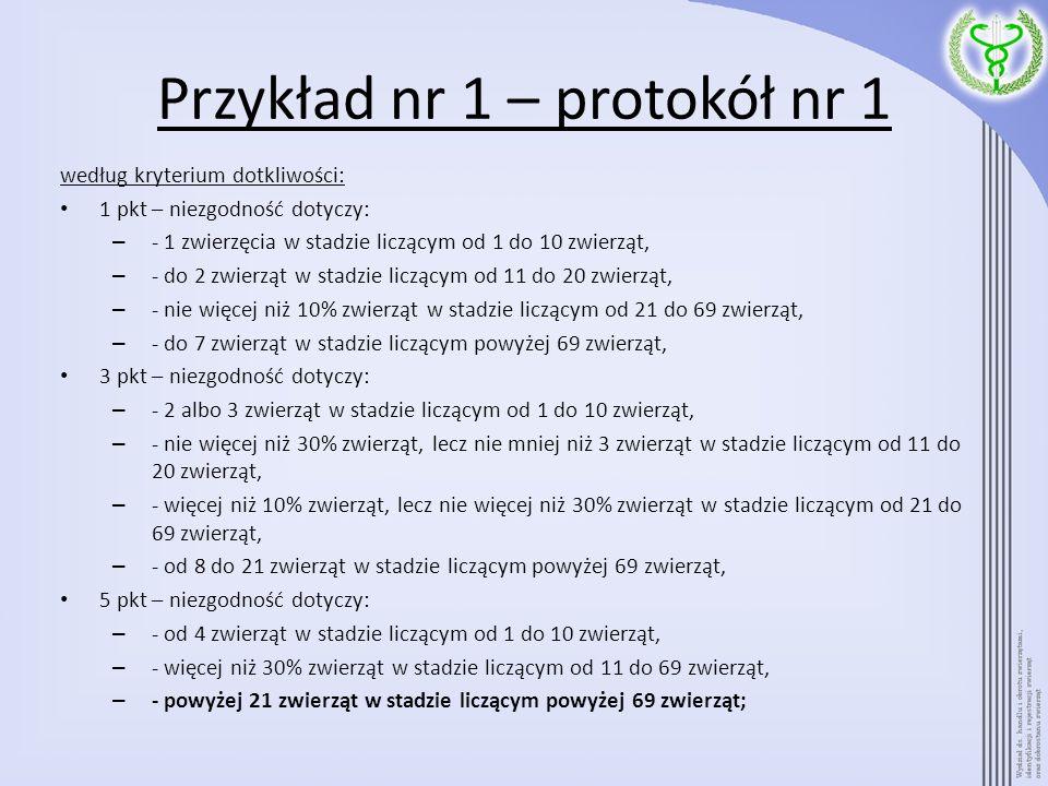 Przykład nr 1 – protokół nr 1 według kryterium dotkliwości: 1 pkt – niezgodność dotyczy: – - 1 zwierzęcia w stadzie liczącym od 1 do 10 zwierząt, – -