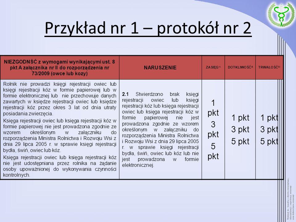 Przykład nr 1 – protokół nr 2 NIEZGODNŚĆ z wymogami wynikającymi ust. 8 pkt A załącznika nr II do rozporządzenia nr 73/2009 (owce lub kozy) NARUSZENIE