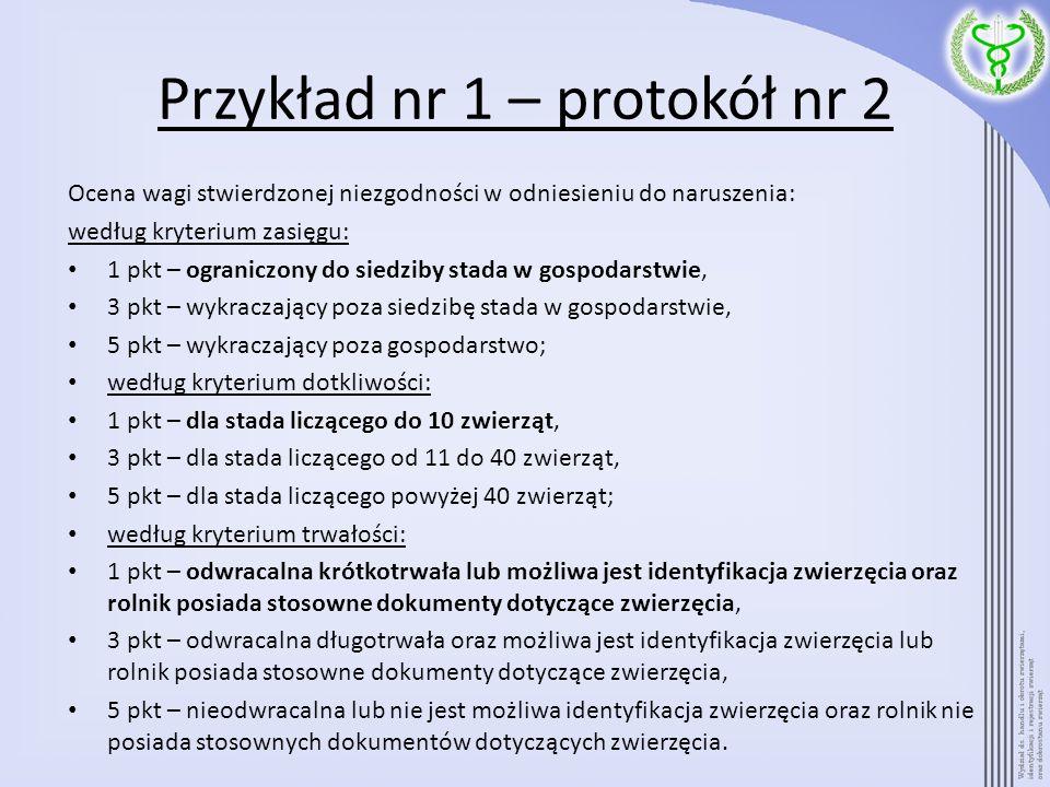 Przykład nr 1 – protokół nr 2 Ocena wagi stwierdzonej niezgodności w odniesieniu do naruszenia: według kryterium zasięgu: 1 pkt – ograniczony do siedz