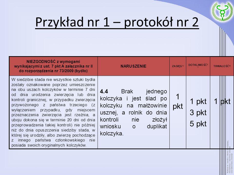 Przykład nr 1 – protokół nr 2 NIEZGODNOŚĆ z wymogami wynikającymi z ust. 7 pkt A załącznika nr II do rozporządzenia nr 73/2009 (bydło) NARUSZENIE ZASI