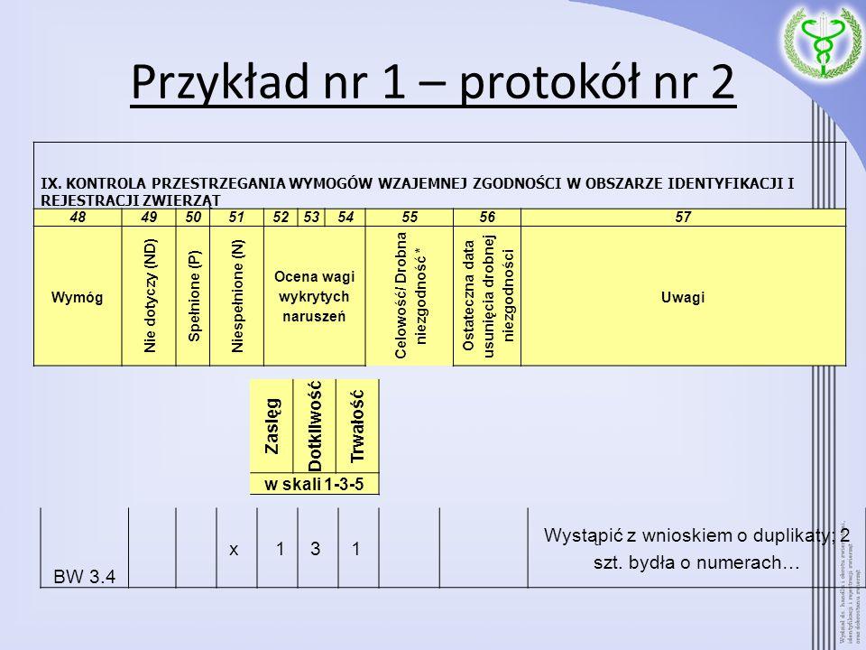 Przykład nr 1 – protokół nr 2 BW 3.4 x 13 1 Wystąpić z wnioskiem o duplikaty; 2 szt. bydła o numerach… IX. KONTROLA PRZESTRZEGANIA WYMOGÓW WZAJEMNEJ Z