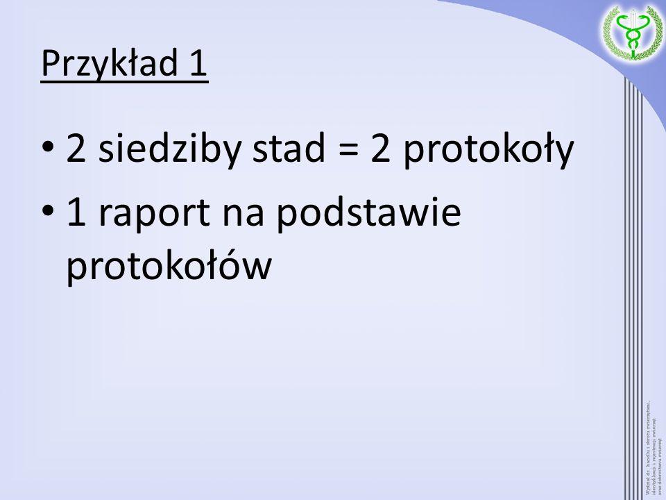 Przykład 1 2 siedziby stad = 2 protokoły 1 raport na podstawie protokołów