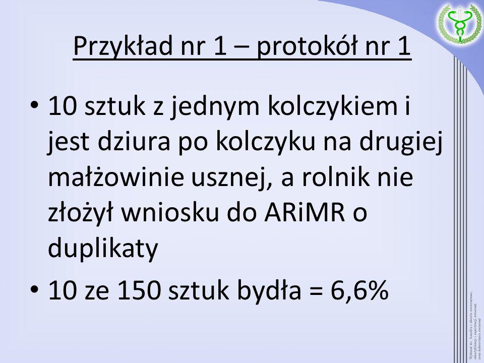 Przykład nr 1 – protokół nr 2 BW 3.4 x 13 1 Wystąpić z wnioskiem o duplikaty; 2 szt.
