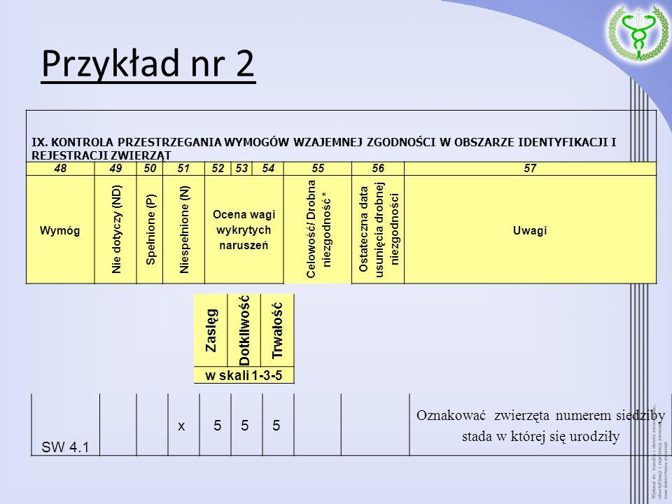 Przykład nr 2 SW 4.1 x 55 5 Oznakować zwierzęta numerem siedziby stada w której się urodziły IX. KONTROLA PRZESTRZEGANIA WYMOGÓW WZAJEMNEJ ZGODNOŚCI W