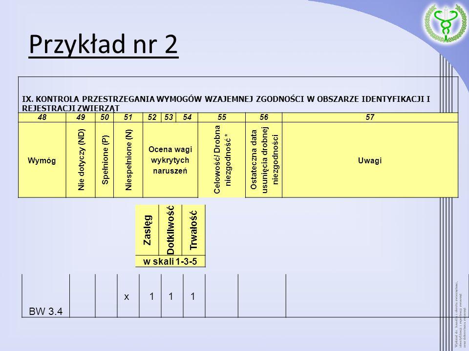 Przykład nr 2 BW 3.4 x 11 1 IX. KONTROLA PRZESTRZEGANIA WYMOGÓW WZAJEMNEJ ZGODNOŚCI W OBSZARZE IDENTYFIKACJI I REJESTRACJI ZWIERZĄT 484950515253545556