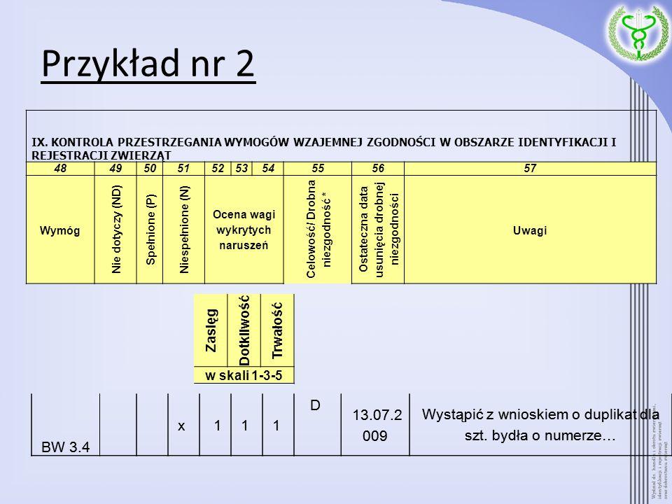 Przykład nr 2 BW 3.4 x 11 1 D 13.07.2 009 Wystąpić z wnioskiem o duplikat dla szt. bydła o numerze… IX. KONTROLA PRZESTRZEGANIA WYMOGÓW WZAJEMNEJ ZGOD