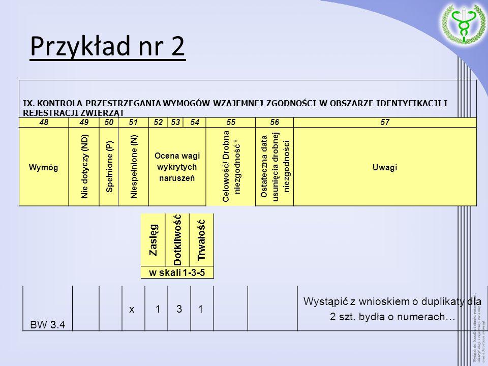 Przykład nr 2 BW 3.4 x 131 Wystąpić z wnioskiem o duplikaty dla 2 szt. bydła o numerach… IX. KONTROLA PRZESTRZEGANIA WYMOGÓW WZAJEMNEJ ZGODNOŚCI W OBS