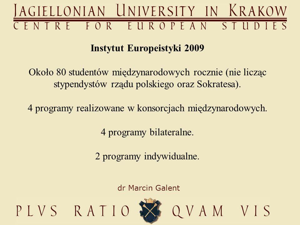 dr Marcin Galent Instytut Europeistyki 2009 Około 80 studentów międzynarodowych rocznie (nie licząc stypendystów rządu polskiego oraz Sokratesa).