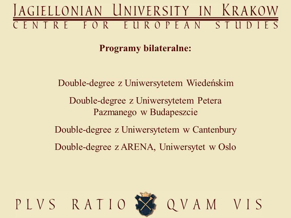 Programy bilateralne: Double-degree z Uniwersytetem Wiedeńskim Double-degree z Uniwersytetem Petera Pazmanego w Budapeszcie Double-degree z Uniwersytetem w Cantenbury Double-degree z ARENA, Uniwersytet w Oslo