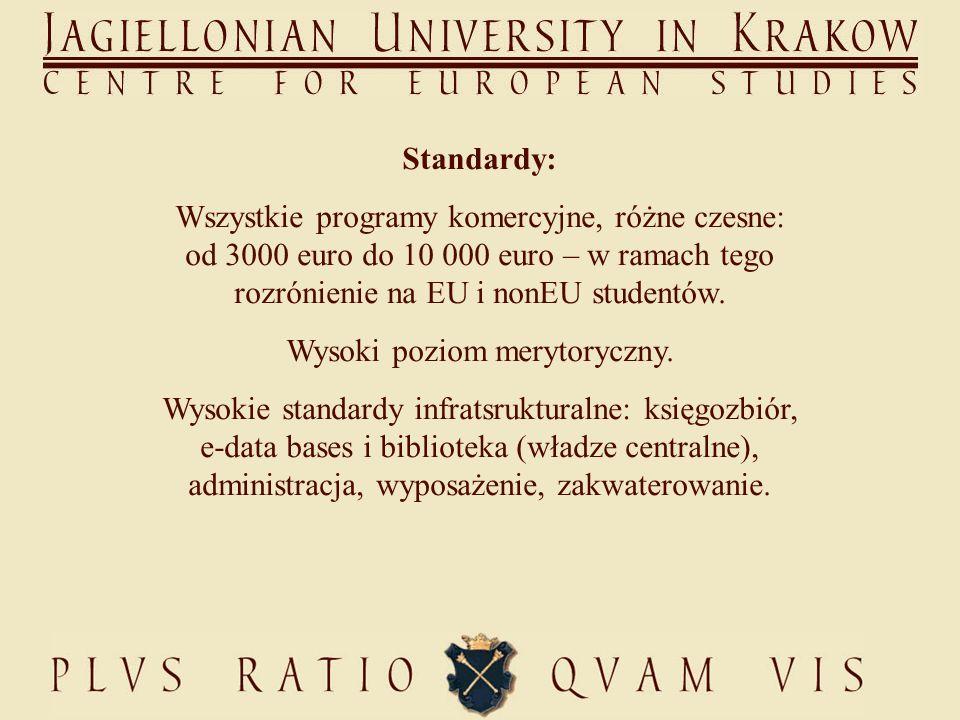 Standardy: Wszystkie programy komercyjne, różne czesne: od 3000 euro do 10 000 euro – w ramach tego rozrónienie na EU i nonEU studentów.