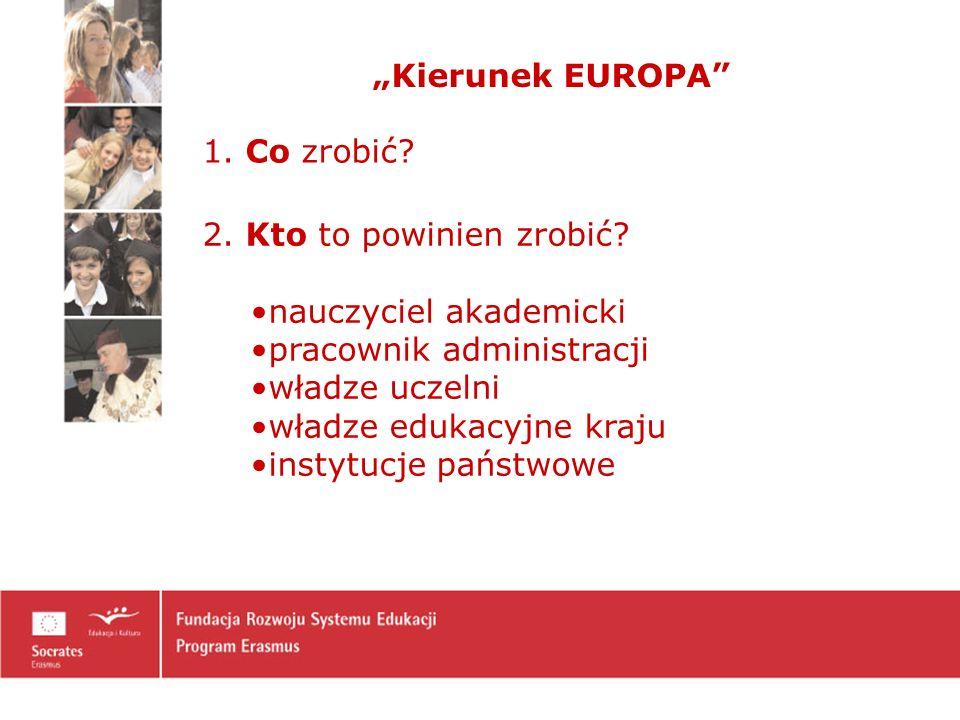 Kierunek EUROPA 1.Co zrobić. 2. Kto to powinien zrobić.