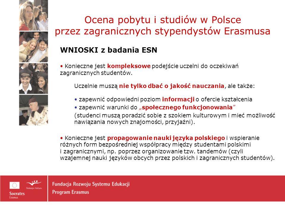 Ocena pobytu i studiów w Polsce przez zagranicznych stypendystów Erasmusa WNIOSKI z badania ESN Konieczne jest kompleksowe podejście uczelni do oczekiwań zagranicznych studentów.