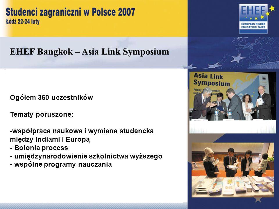 EHEF Bangkok – Asia Link Symposium Ogółem 360 uczestników Tematy poruszone: -współpraca naukowa i wymiana studencka między Indiami i Europą - Bolonia process - umiędzynarodowienie szkolnictwa wyższego - wspólne programy nauczania