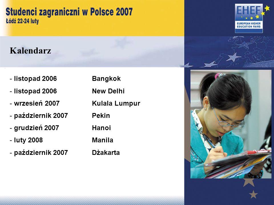 Kalendarz - listopad 2006 Bangkok - listopad 2006 New Delhi - wrzesień 2007 Kulala Lumpur - październik 2007 Pekin - grudzień 2007 Hanoi - luty 2008 Manila - październik 2007 Dżakarta