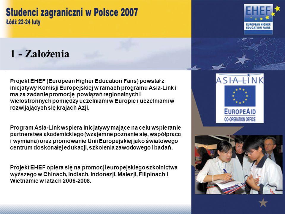 1 - Założenia Projekt EHEF (European Higher Education Fairs) powstał z inicjatywy Komisji Europejskiej w ramach programu Asia-Link i ma za zadanie promocję powiązań regionalnych i wielostronnych pomiędzy uczelniami w Europie i uczelniami w rozwijających się krajach Azji.