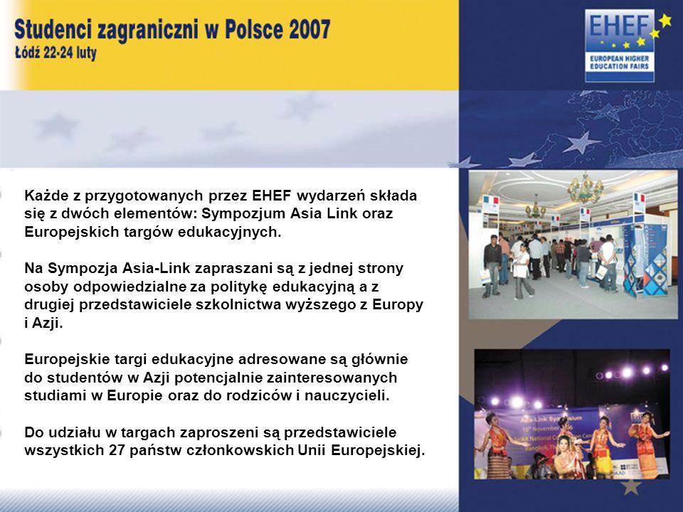 Każde z przygotowanych przez EHEF wydarzeń składa się z dwóch elementów: Sympozjum Asia Link oraz Europejskich targów edukacyjnych.