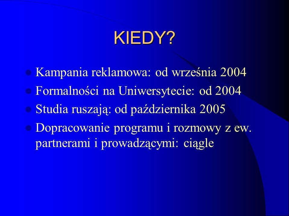 KIEDY? Kampania reklamowa: od września 2004 Formalności na Uniwersytecie: od 2004 Studia ruszają: od października 2005 Dopracowanie programu i rozmowy