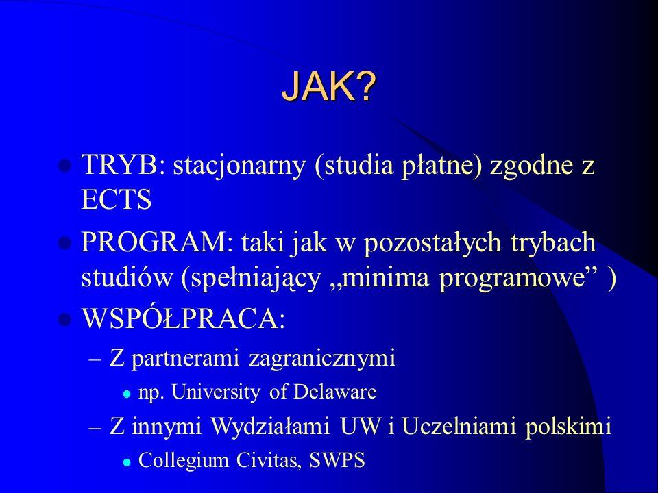 JAK? TRYB: stacjonarny (studia płatne) zgodne z ECTS PROGRAM: taki jak w pozostałych trybach studiów (spełniający minima programowe ) WSPÓŁPRACA: – Z