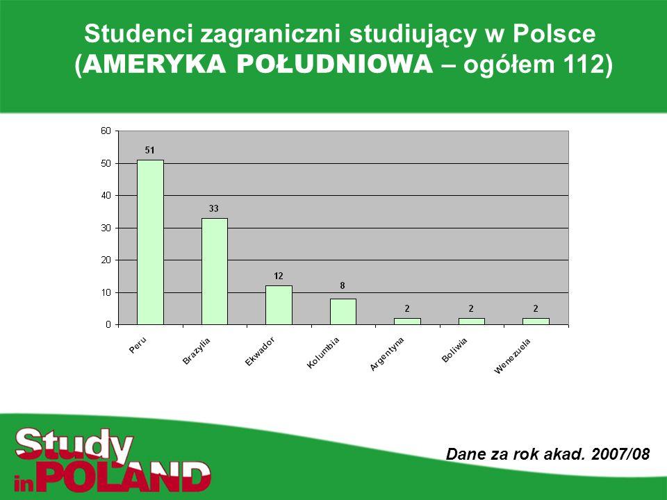 Studenci zagraniczni studiujący w Polsce ( AMERYKA POŁUDNIOWA – ogółem 112) Dane za rok akad.