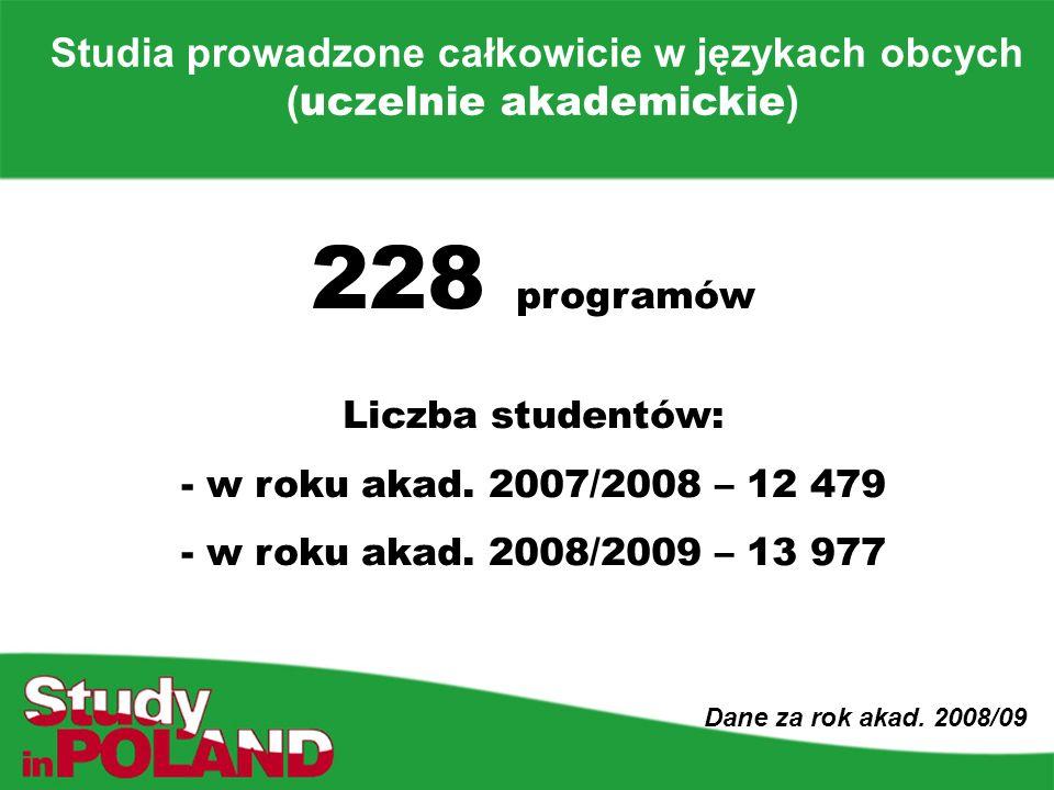 Studia prowadzone całkowicie w językach obcych ( uczelnie akademickie ) Dane za rok akad.