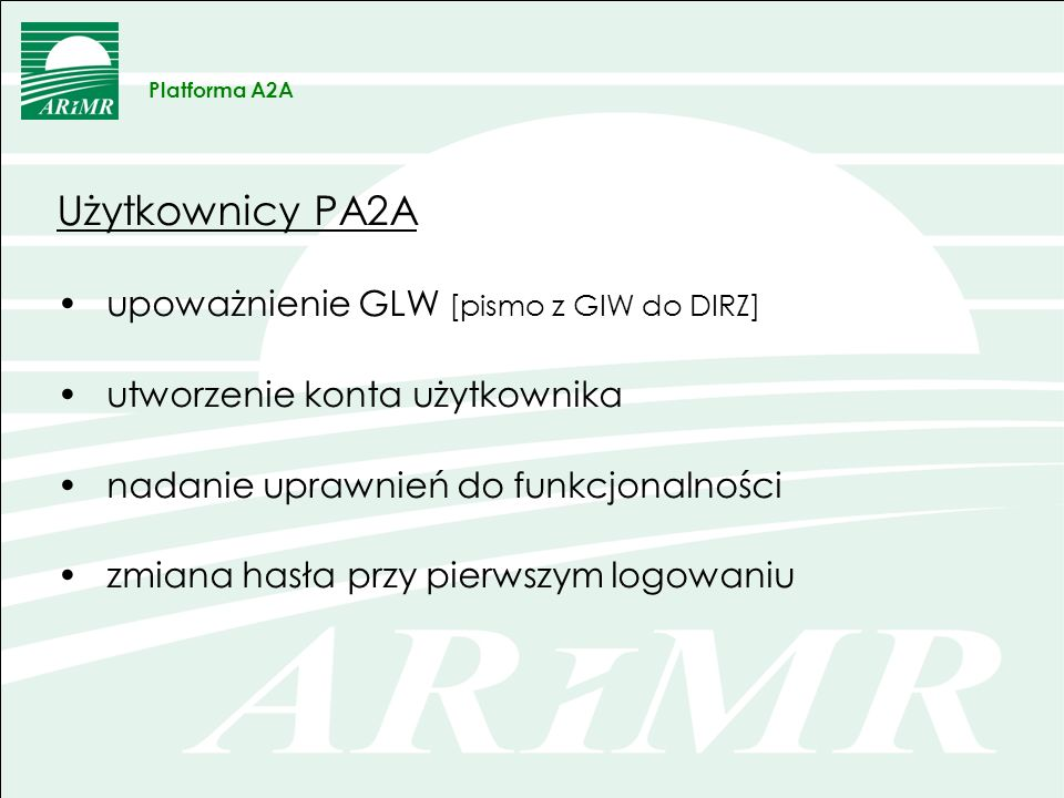 Użytkownicy PA2A c.d.