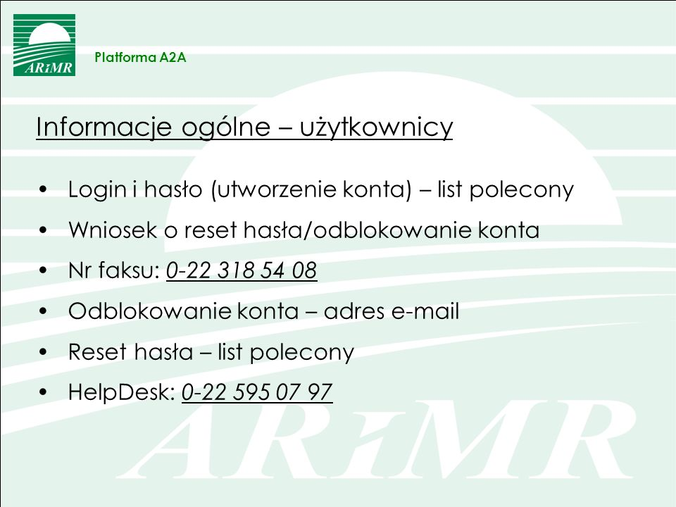 OBRAZEK Platforma A2A Dane ogólne stada/stad producenta – dostępne funkcje Pokaż dane szczegółowe Siedziby Stada Pokaż dane o Zwierzętach dla Siedziby Stada