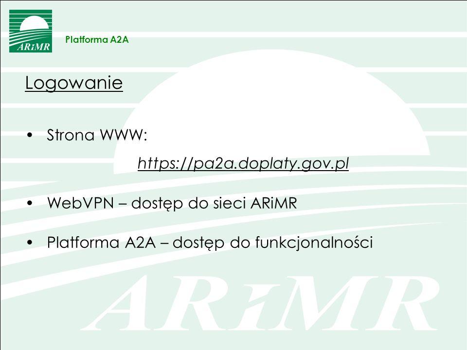 WebVPN bezpieczne połączenie z siecią ARiMR: dostęp do sieci ARiMR dostęp do usług, aplikacji i systemów w sieci ARiMR konto sieciowe w domenie ZSZiK [AD] Platforma A2A