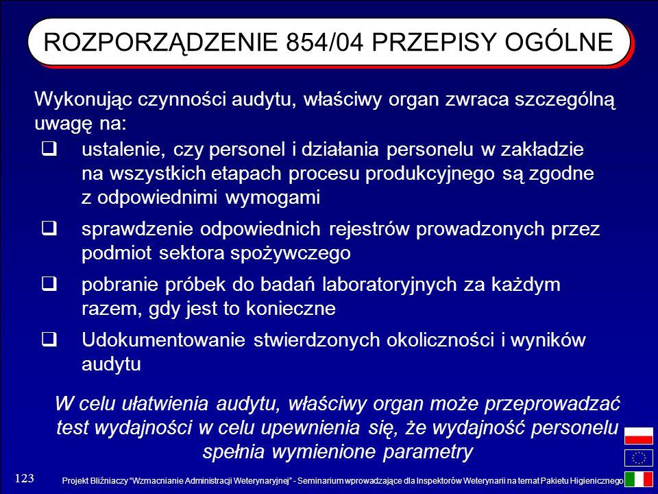 Projekt Bliźniaczy Wzmacnianie Administracji Weterynaryjnej - Seminarium wprowadzające dla Inspektorów Weterynarii na temat Pakietu Higienicznego 123